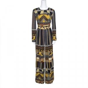 Etro Multicolor Geometric Printed Long Sleeve Jumpsuit M