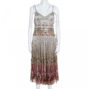 Etro Ivory Rose Floral Printed Silk Sequin Embellished Striated Ombré Sundress L