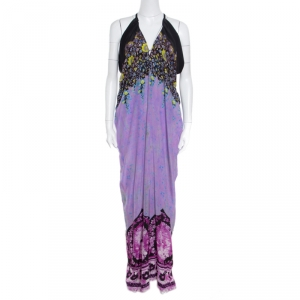 Etro Lavender and Black Floral Printed Sleeveless Draped Maxi Dress L