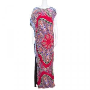Etro Multicolor Paisley Printed Asymmetric Draped Maxi Dress L