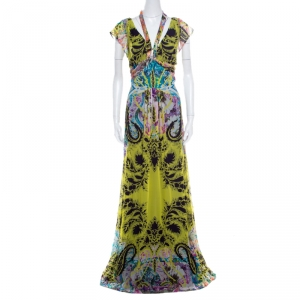 Etro Multicolor Printed Silk Neck Tie Detail Plunge Neck Maxi Dress L