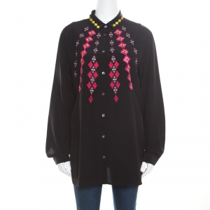 Etro Black Silk Crepe de Chine Embroidered Long Sleeve Shirt L