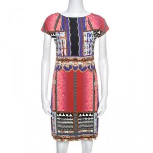 Etro Multicolor Printed Knit Cap Sleeve Sheath Dress M