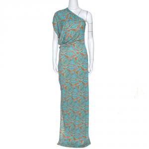 Etro Orange & Teal Paisley Printed Jersey One Shoulder Dress L