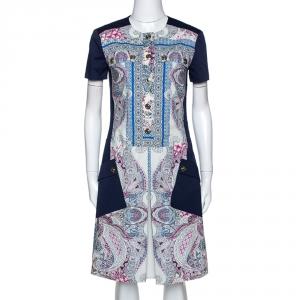 Etro Navy Blue Paisley Print Cotton Button Front Dress S -