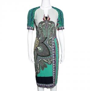 Etro Multicolor Paisley Printed Stretch Crepe Sheath Dress S