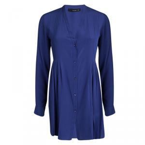 Etro Blue Silk Pleat Detail Long Sleeve Blouse S