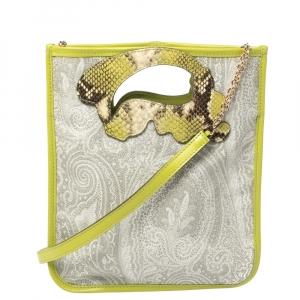 Etro Green/Grey Paisley Coated Canvas Crossbody Bag