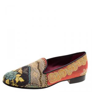 Etro Multicolor Printed Fabric Loafers Size 36