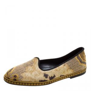 Etro Beige Brocade Loafers Size 36.5