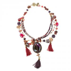 Etro Multicolor Beads Crystal Gold Tone Multi-layer Tassel Necklace