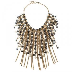 Etro Crystal Studded Gold Tone Tassel Drop Statement Necklace