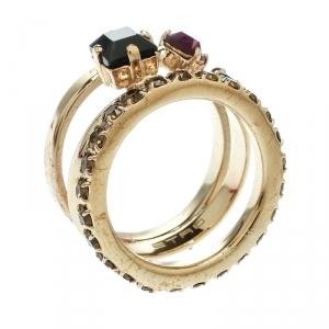 Etro Crystal Embellished Gold Tone Multi Band Ring Size 61