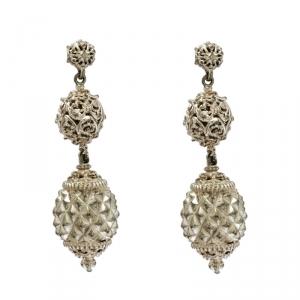 Etro Open-work Textured Gold Tone Dangle Earrings