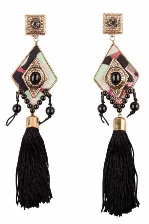 Etro Black Rhombus Embellished Gold Tone Clip-on Long Tassel Earrings