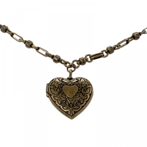 Etro Textured Heart Locket Gold Tone Long Necklace
