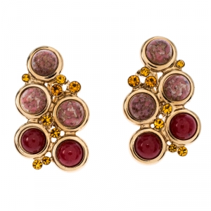 Etro Crystal Cabochon Gold Tone Clip-on Stud Earrings
