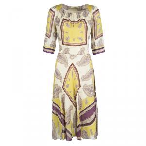 Etro Cream Paisley Printed Silk Short Sleeve Waist Tie Detail Dress M