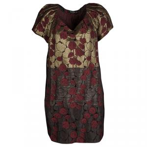 Etro Red and Gold Brocade Short Sleeve Shift Dress L