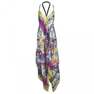 Etro Multicolor Printed Silk Tie Detail Sleeveless Dress S