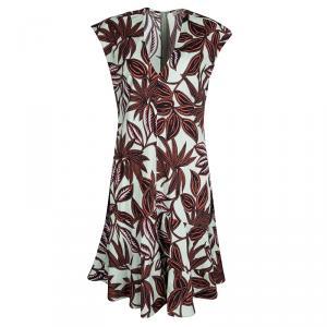 Etro Multicolor Leaf Print Cotton V-Neck Sleeveless Dress M - used