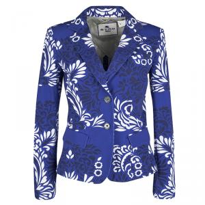 Etro Blue and White Floral Printed Cotton Blazer M