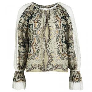 Etro Paisley Print Lace Trim Long Sleeve Blouse S