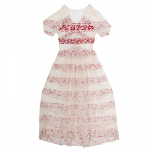 Etro Cream and Red Floral Embroidered Paneled Lace Sheer Maxi Dress M
