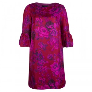 Etro Pink Rose Printed Silk Flute Sleeve Shift Dress M
