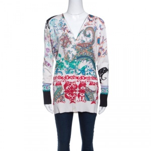 Etro Multicolor Printed Silk Knit Button Front Long Sleeve Cardigan M