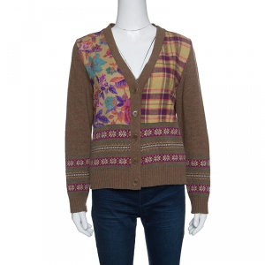 Etro Brown Patterned Wool Floral and Plaid Patch Detail Cardigan L