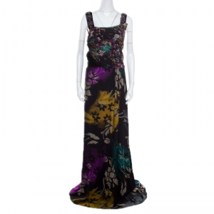 Etro Black Floral Printed Silk Beaded Strap Detail Draped Maxi Dress L