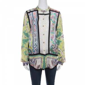 Etro Multicolor Printed Clip Dot Paneled Long Sleeve Shirt M