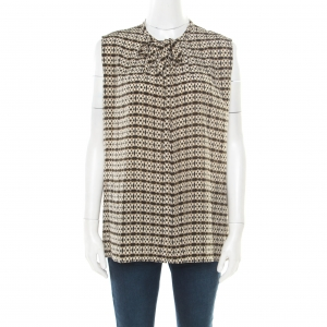 Etro Khaki Abstract Printed Silk Sleeveless Top M