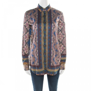 Etro Multicolor Baroque Printed Cotton Long Sleeve Button Front Shirt M