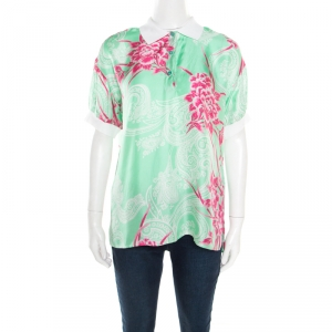 Etro Mint Green and Pink Floral Printed Silk Polo T-Shirt M - used