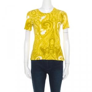 Etro Green Paisley Printed Cotton Crew Neck T-Shirt S