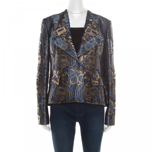 Etro Blue and Gold Lurex Embroidered Jacquard Jacket L