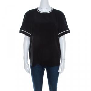 Etro Black Silk Contrast Trim Short Sleeve Top L