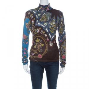 Etro Brown & Multicolor Floral Print Silk & Cashmere Blend Turtleneck Pullover M