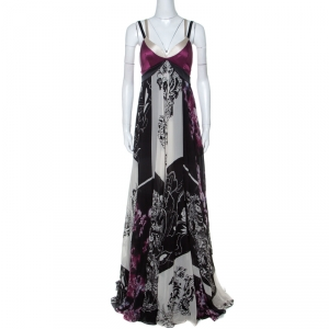 Etro Lavender and Black Floral Printed Silk Draped Maxi Dress M