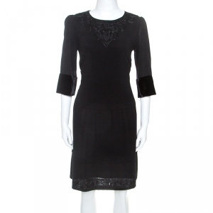 Etro Black Crepe Embroidery Detail Dress M - used