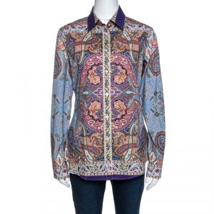 Etro Multicolor Paisley Printed Stretch Cotton Long Sleeve Shirt M
