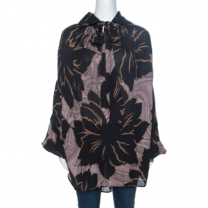 Etro Black Floral Print Silk Drop Shoulder Oversized Blouse M