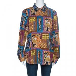 Etro Multicolor Patchwork Print Cotton Button Front Shirt XL