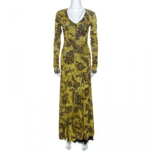Etro Olive Green Printed Knit Flared Maxi Dress L