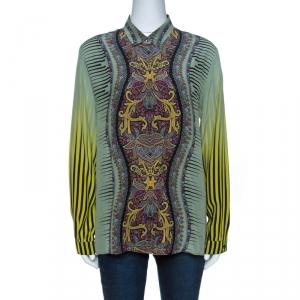 Etro Pale Green Placement Print Detail Long Sleeve Shirt L