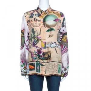 Etro Beige Animal Post Card Print Silk Long Sleeve Shirt L