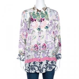 Etro Multicolor Floral Print Silk Long Sleeve Blouse L