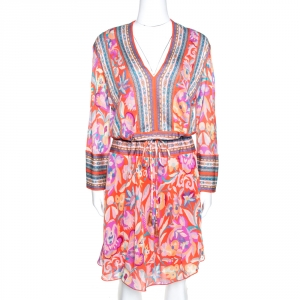 Etro Orange Floral Print Knit Drawstring Waist Flared Dress M